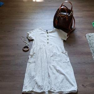 Roolee linen blend dress pockets size medium
